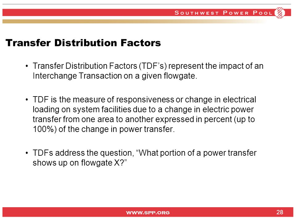 Transfer Distribution Factors