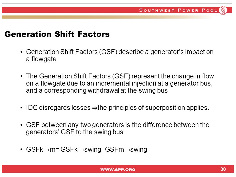 Generation Shift Factors