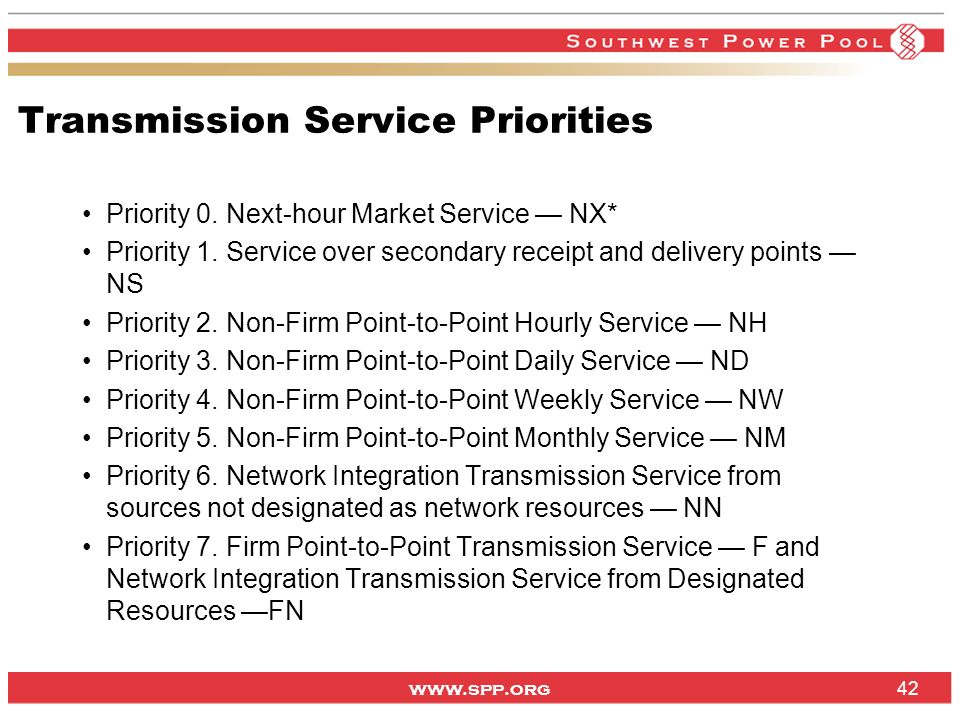 Transmission Service Priorities
