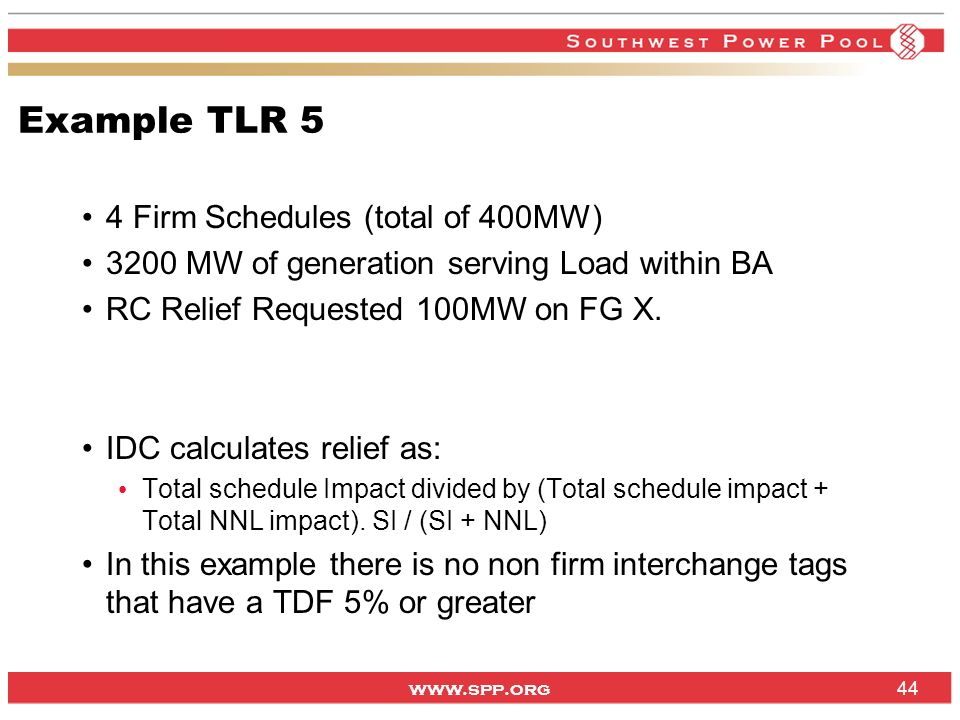 Example TLR 5 4 Firm Schedules (total of 400MW)
