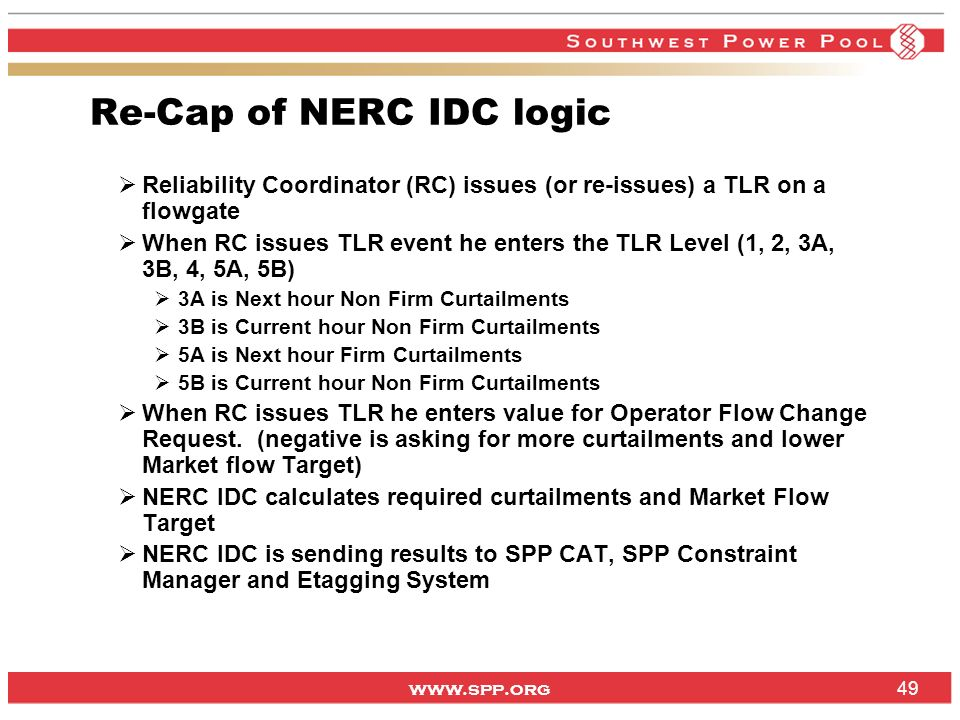 Re-Cap of NERC IDC logic
