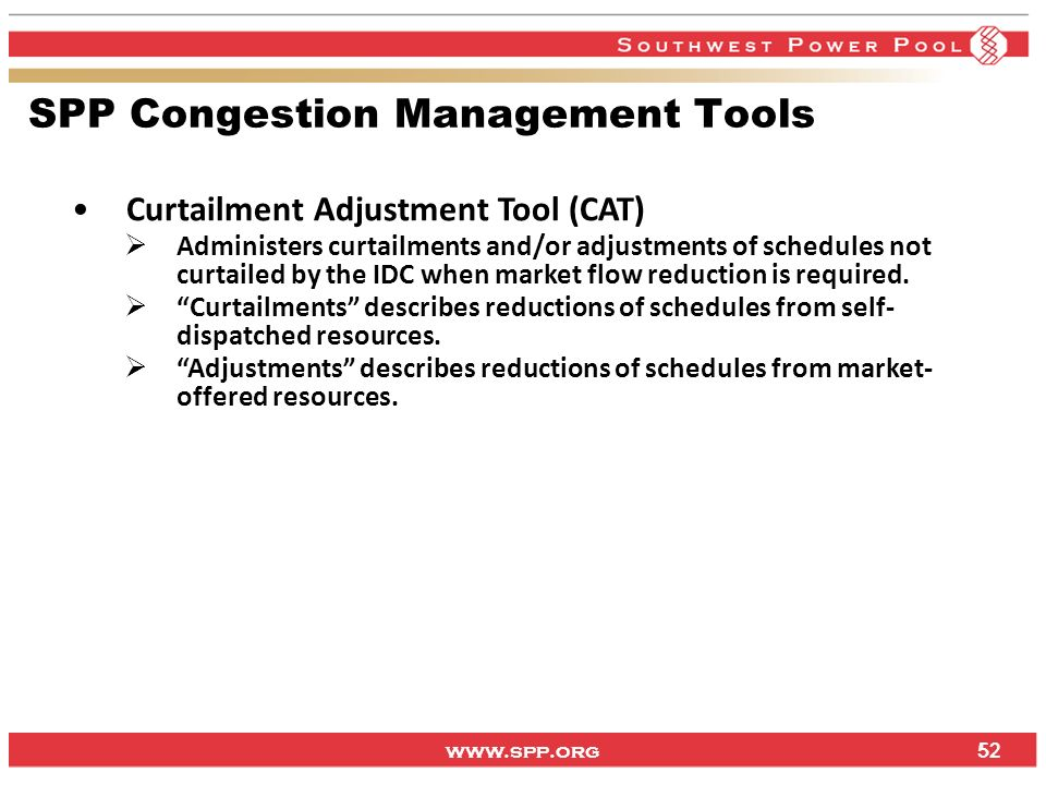 SPP Congestion Management Tools
