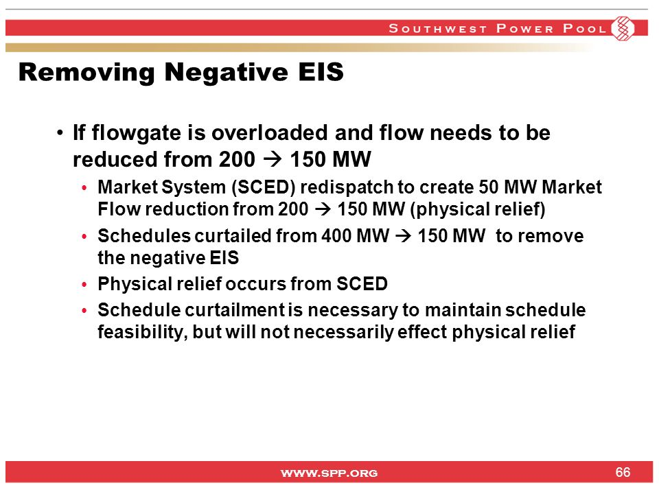 Removing Negative EIS If flowgate is overloaded and flow needs to be reduced from 200  150 MW.