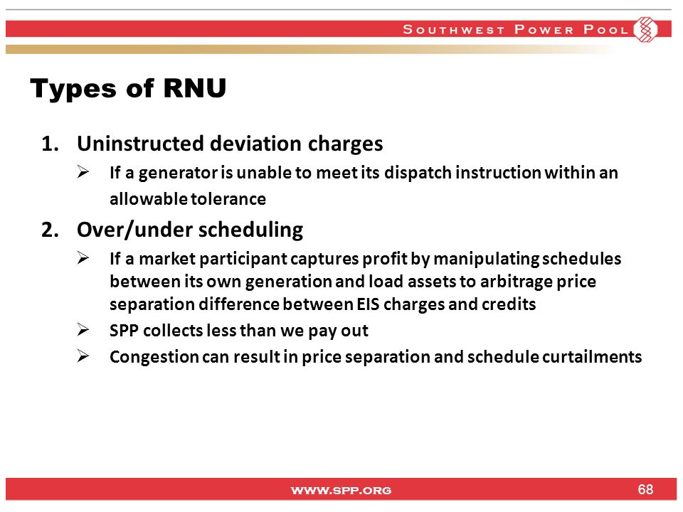 Types of RNU Uninstructed deviation charges Over/under scheduling