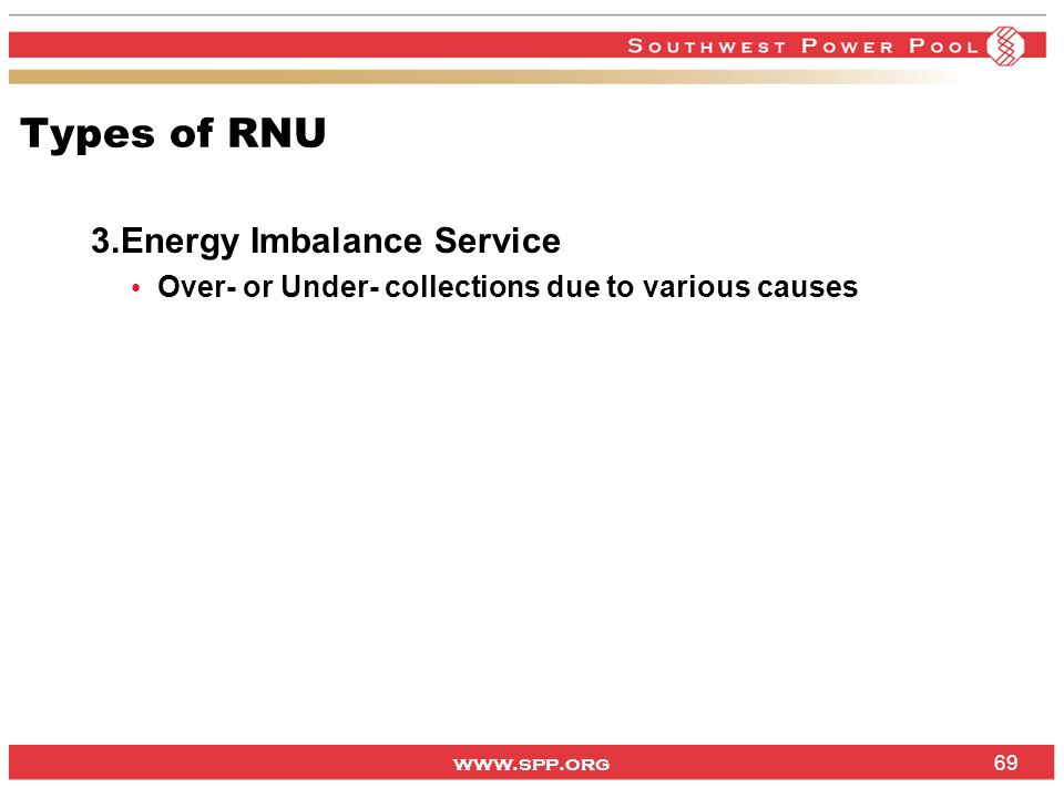 Types of RNU Energy Imbalance Service