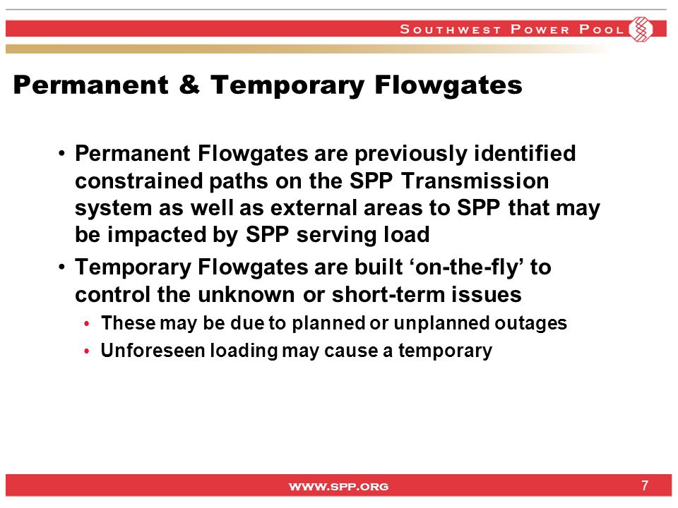 Permanent & Temporary Flowgates