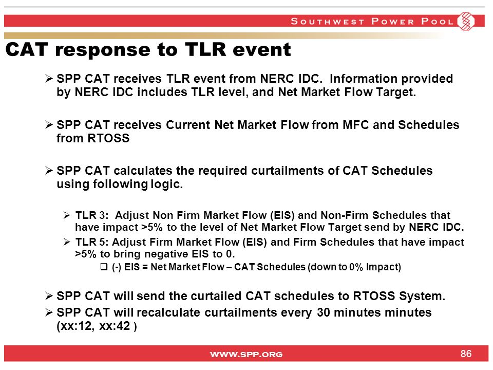 CAT response to TLR event