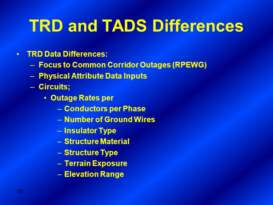 TRD and TADS Differences