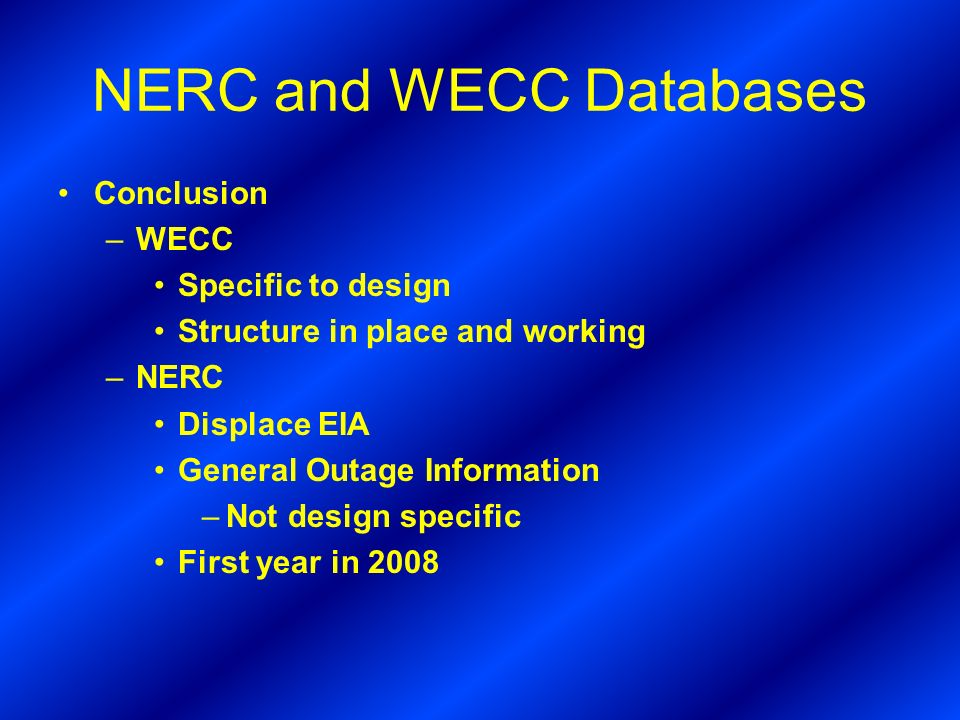 NERC and WECC Databases
