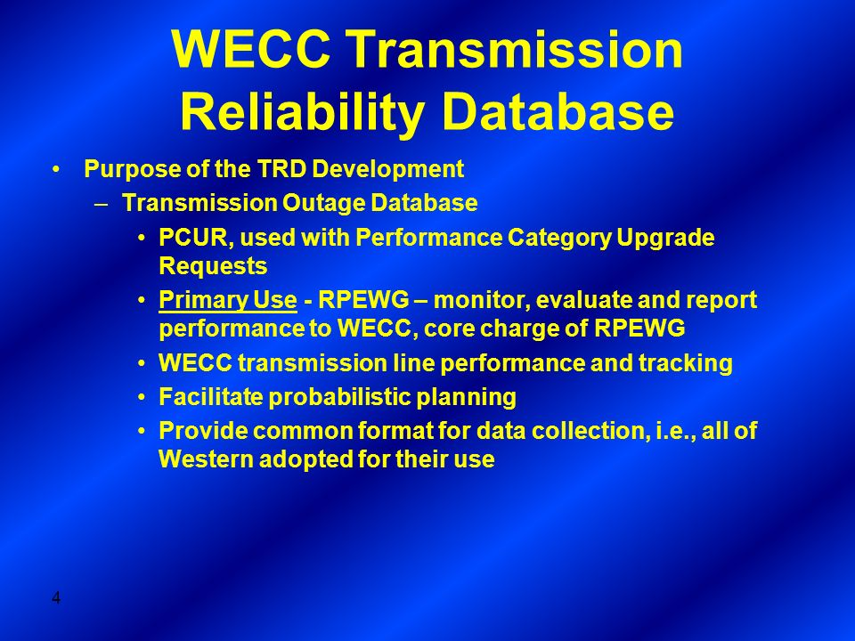 WECC Transmission Reliability Database
