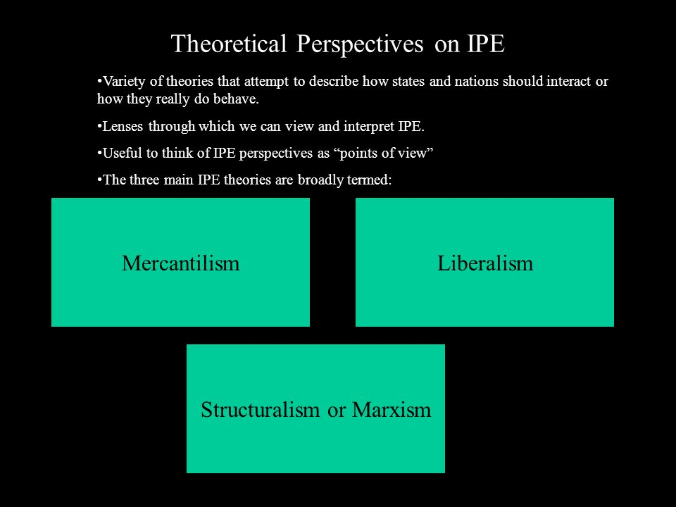 international political economy interpreted through nationalism liberalism and marxism This control of the monopoly of force allows a government to re-allocate, through law, portions of the economic surplus between private individuals this study of political power as it effects distribution and production of goods in an economy, creates the field of political economy.