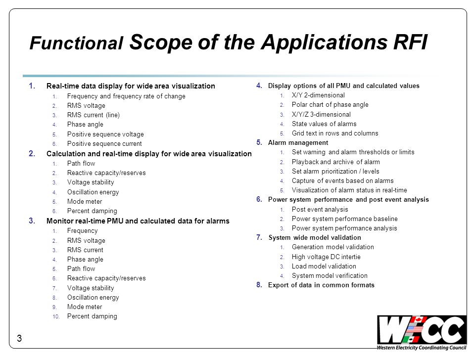 Functional Scope of the Applications RFI