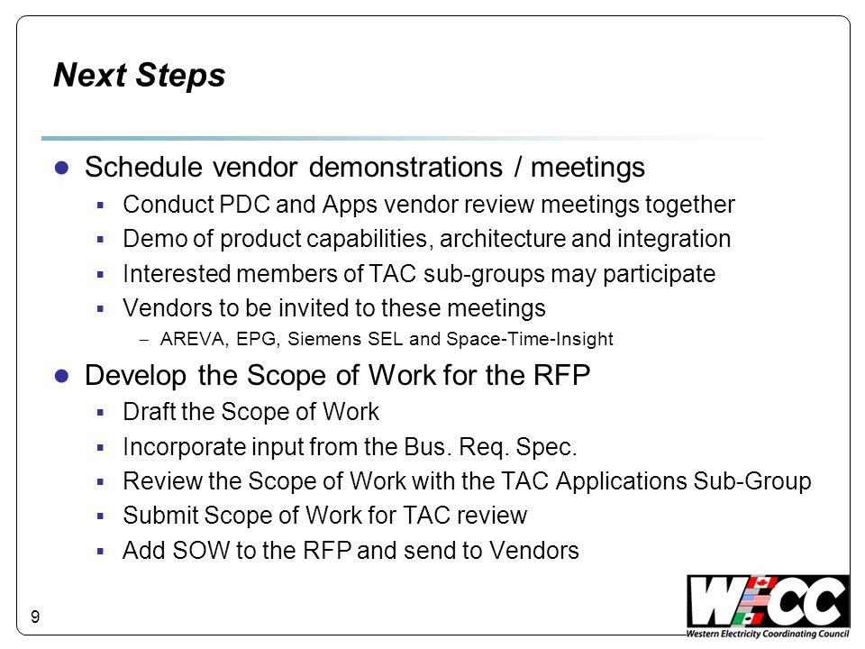 Next Steps Schedule vendor demonstrations / meetings