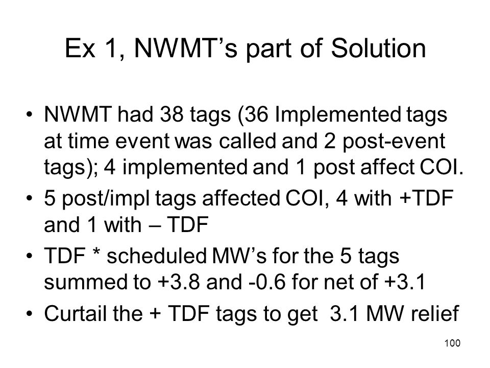 Ex 1, NWMT's part of Solution