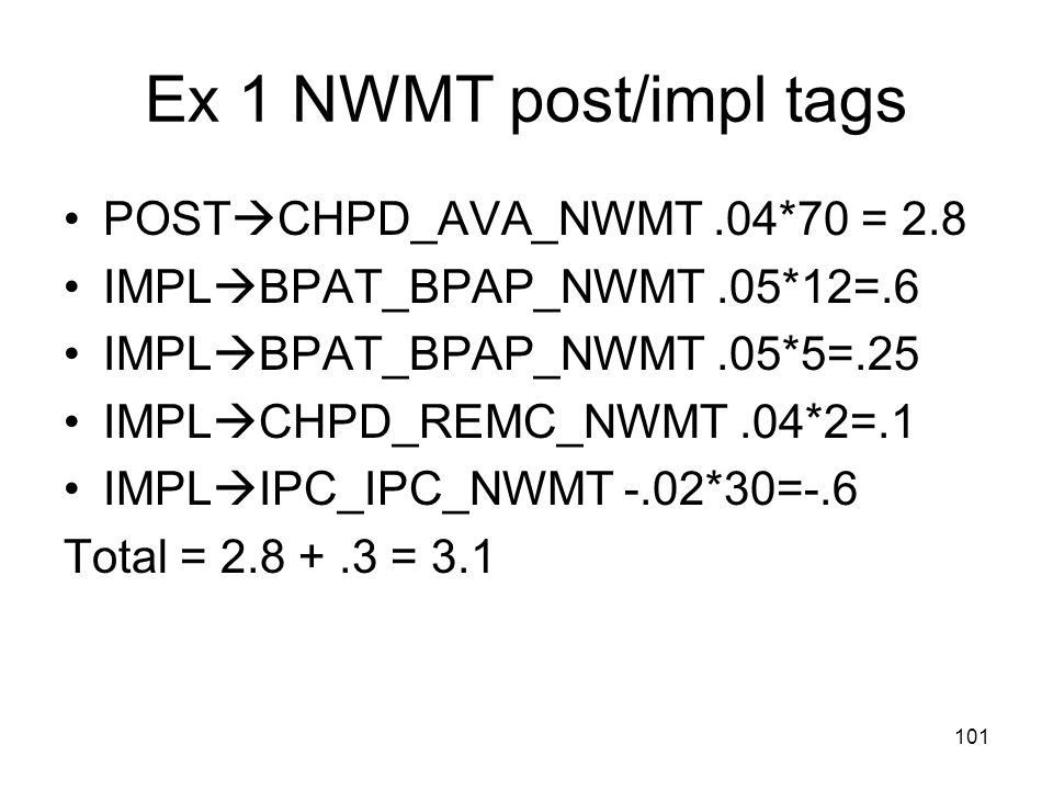 Ex 1 NWMT post/impl tags POSTCHPD_AVA_NWMT .04*70 = 2.8