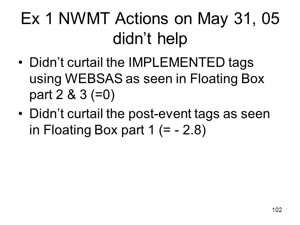 Ex 1 NWMT Actions on May 31, 05 didn't help