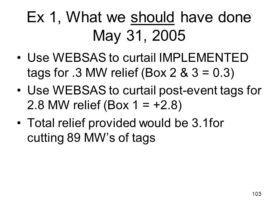 Ex 1, What we should have done May 31, 2005
