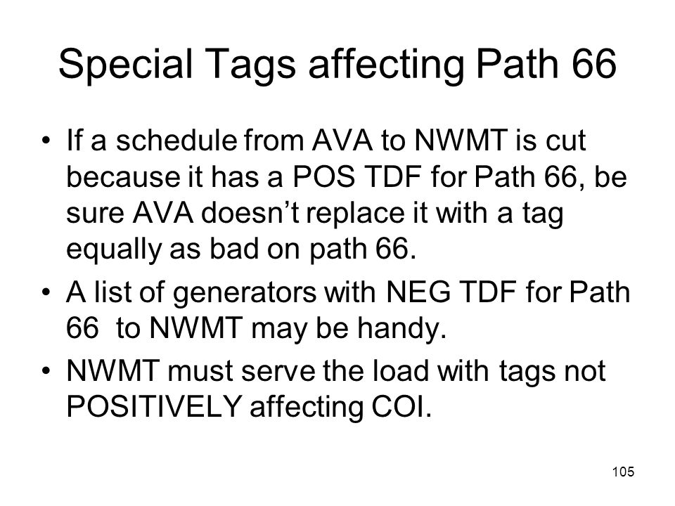 Special Tags affecting Path 66