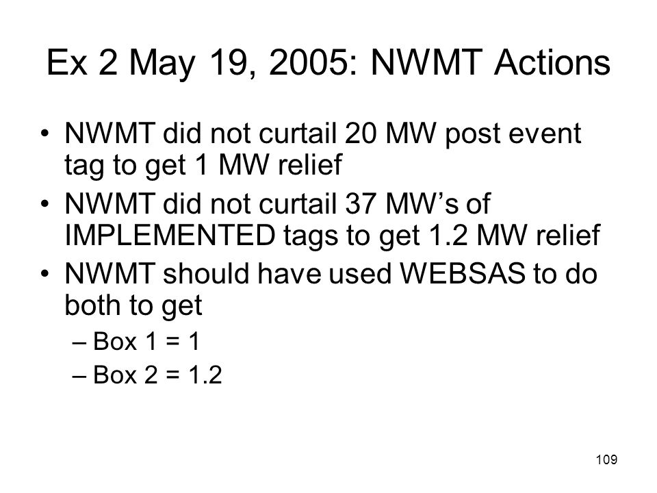 Ex 2 May 19, 2005: NWMT Actions NWMT did not curtail 20 MW post event tag to get 1 MW relief.