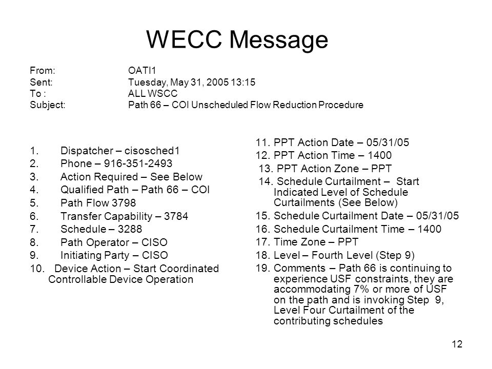 WECC Message From:. OATI1 Sent:. Tuesday, May 31, 2005 13:15 To :