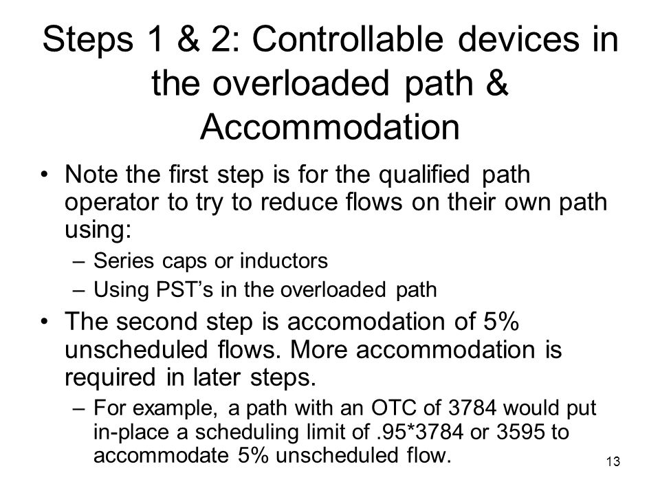 Steps 1 & 2: Controllable devices in the overloaded path & Accommodation