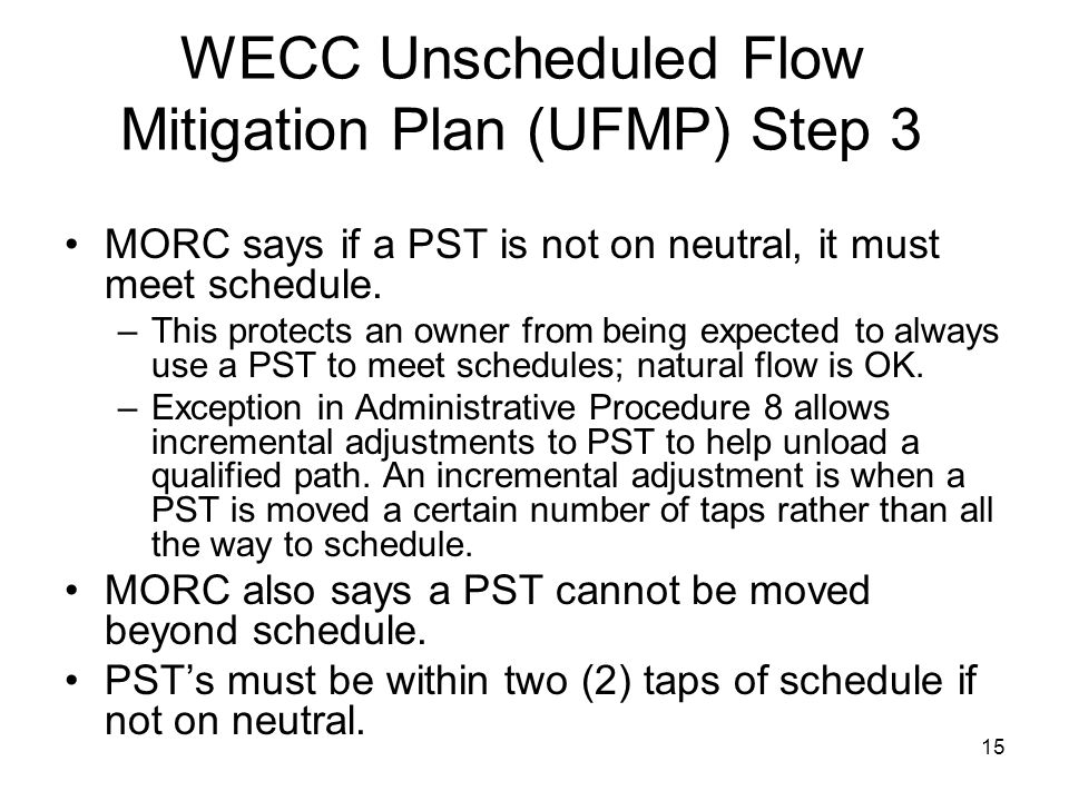 WECC Unscheduled Flow Mitigation Plan (UFMP) Step 3