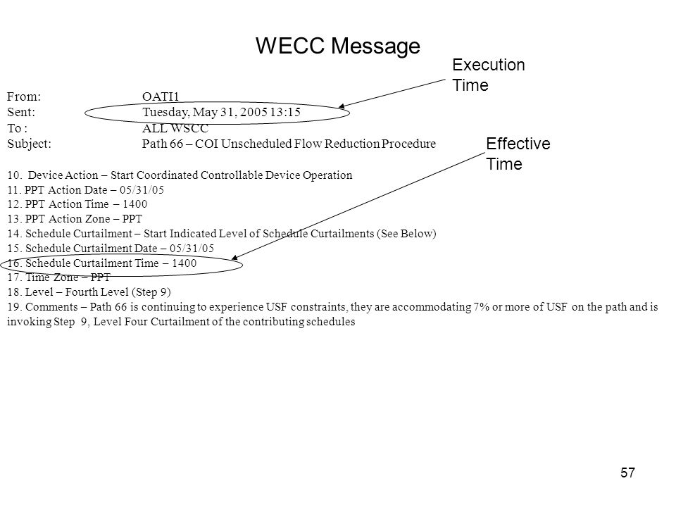WECC Message Execution Time Effective Time From: OATI1