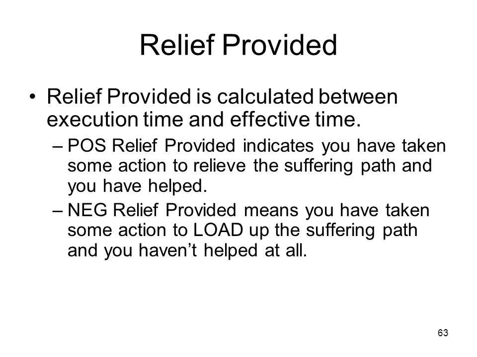 Relief Provided Relief Provided is calculated between execution time and effective time.