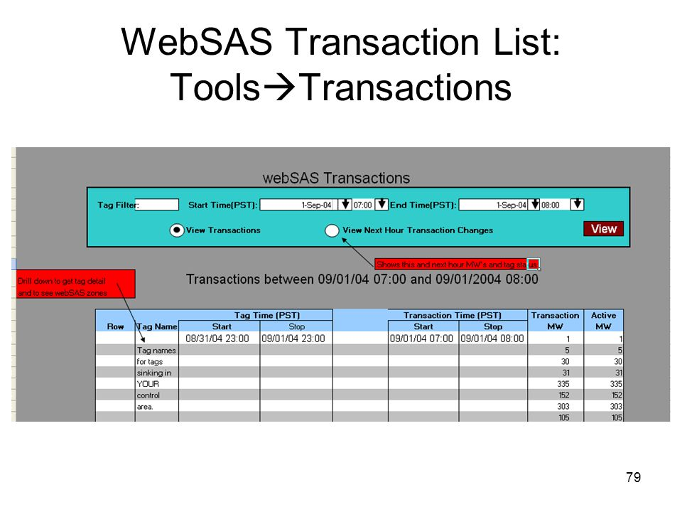 WebSAS Transaction List: ToolsTransactions
