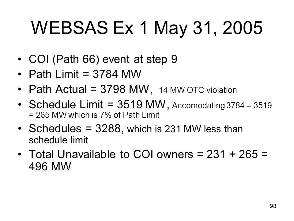 WEBSAS Ex 1 May 31, 2005 COI (Path 66) event at step 9
