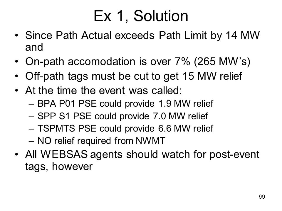 Ex 1, Solution Since Path Actual exceeds Path Limit by 14 MW and