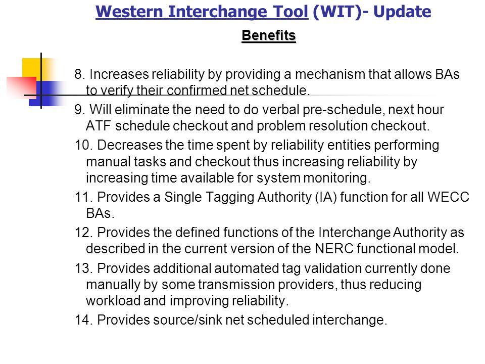 Western Interchange Tool (WIT)- Update