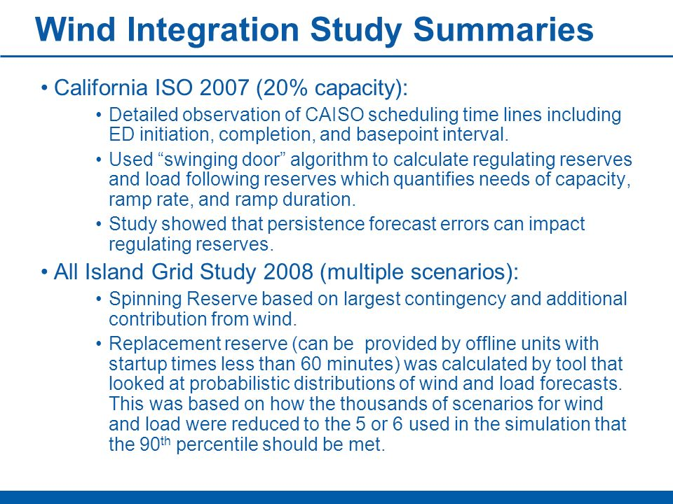 Wind Integration Study Summaries