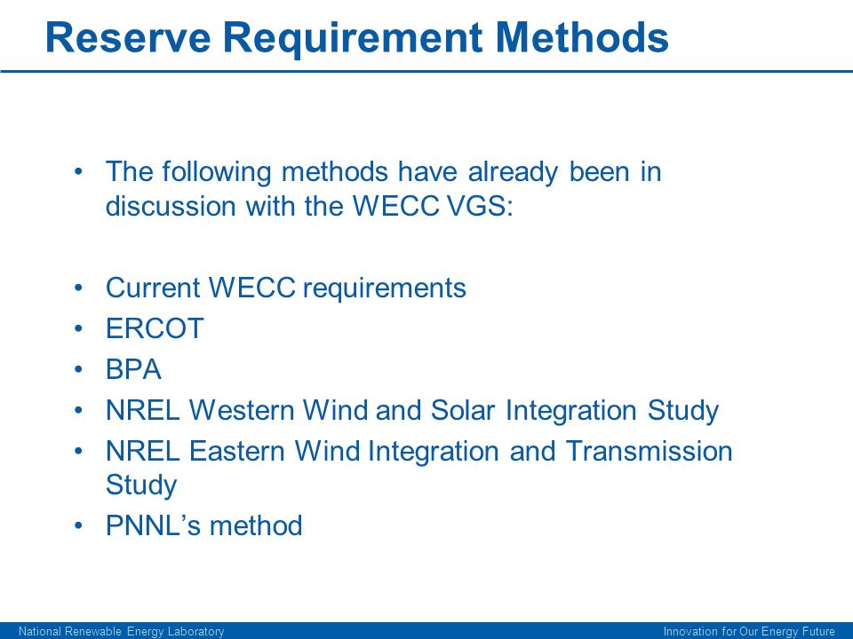 Reserve Requirement Methods