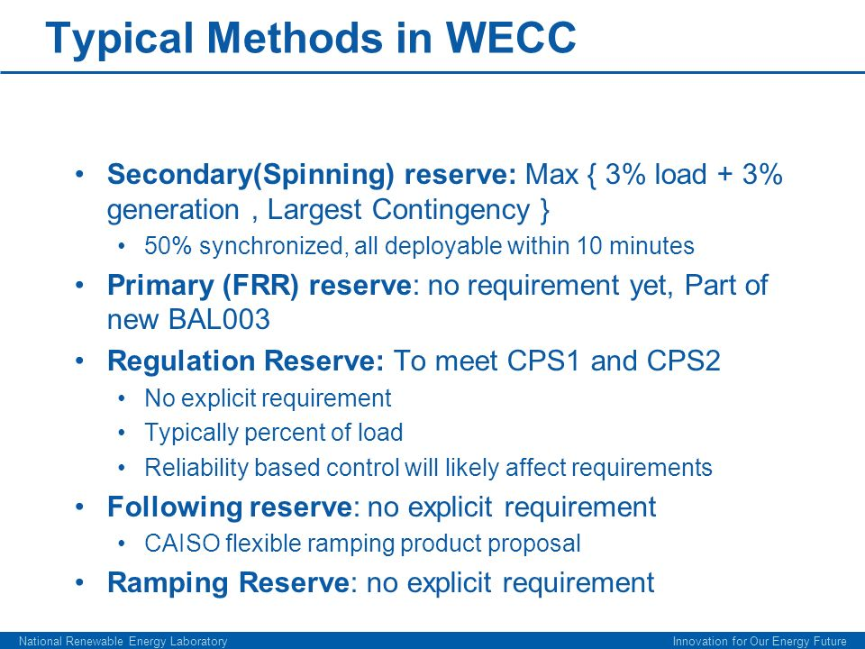 Typical Methods in WECC