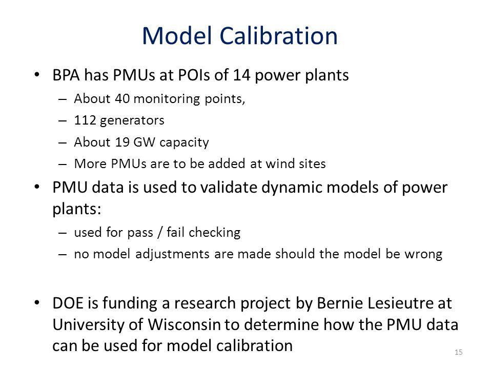 Model Calibration BPA has PMUs at POIs of 14 power plants