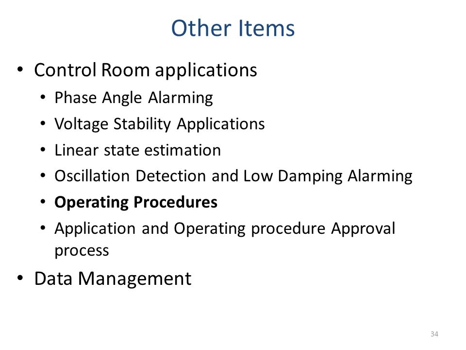 Other Items Control Room applications Data Management