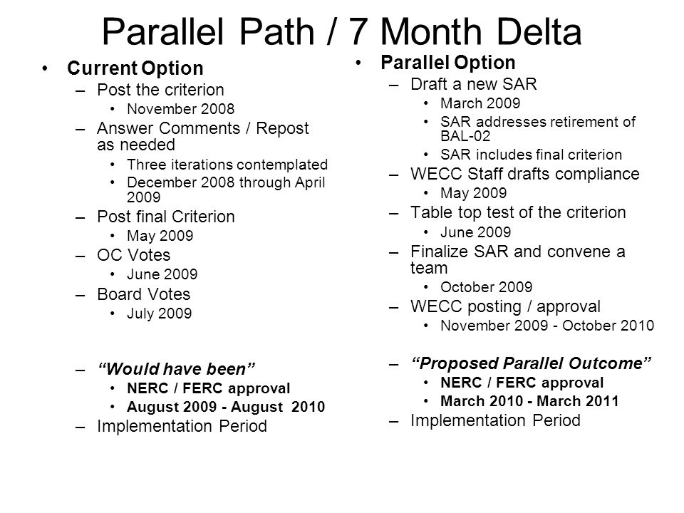 Parallel Path / 7 Month Delta
