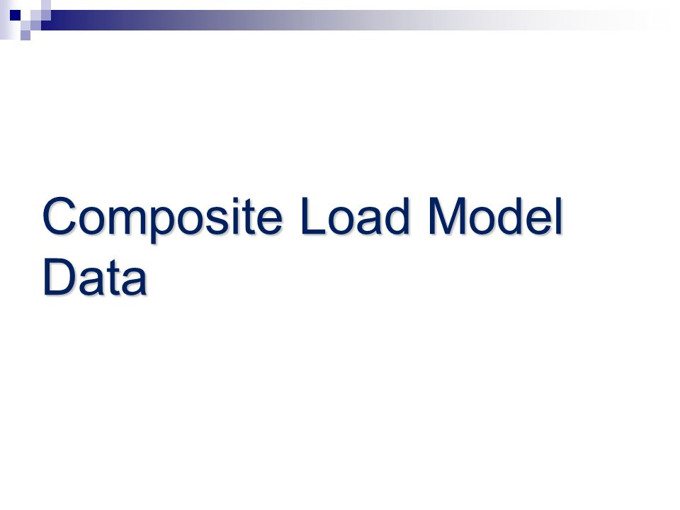 Composite Load Model Data