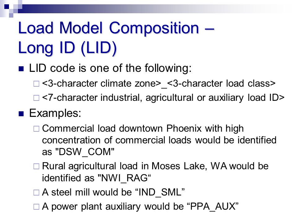 Load Model Composition – Long ID (LID)