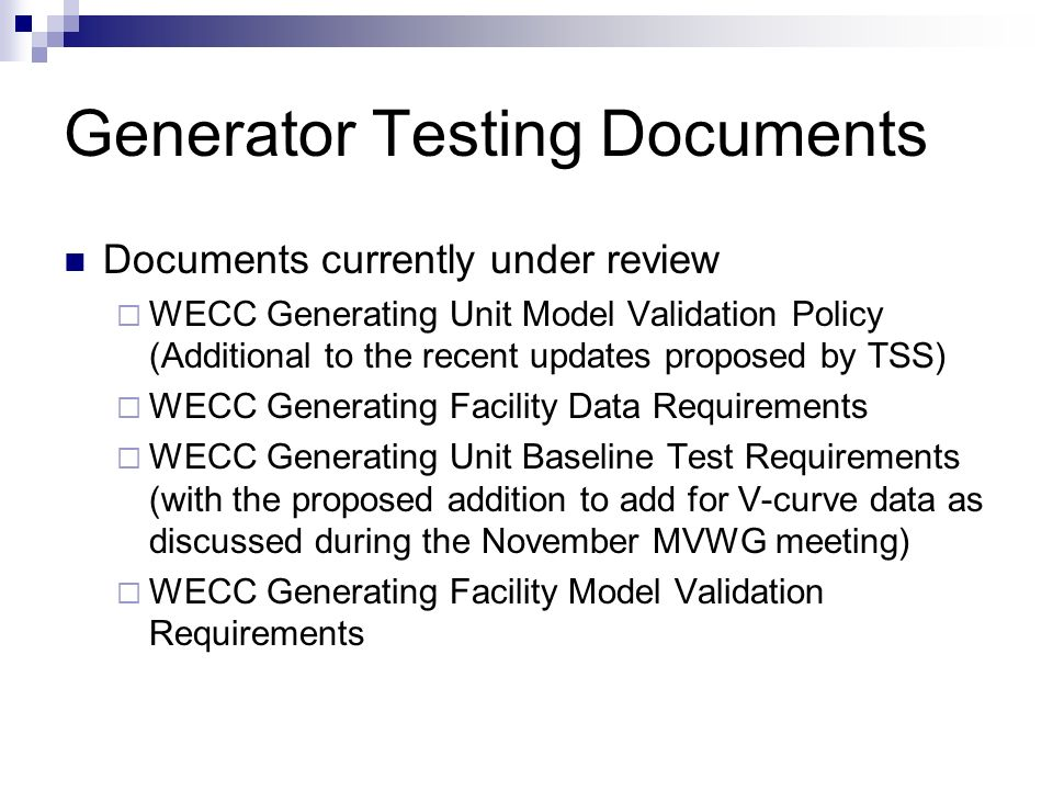 Generator Testing Documents