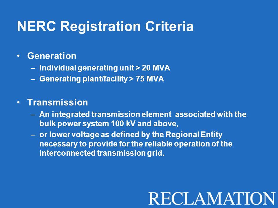 NERC Registration Criteria
