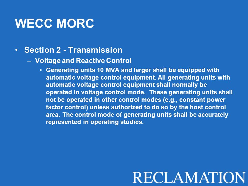 WECC MORC Section 2 - Transmission Voltage and Reactive Control