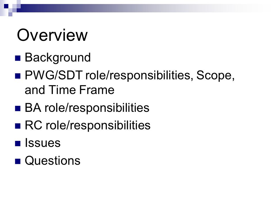 Overview Background. PWG/SDT role/responsibilities, Scope, and Time Frame. BA role/responsibilities.