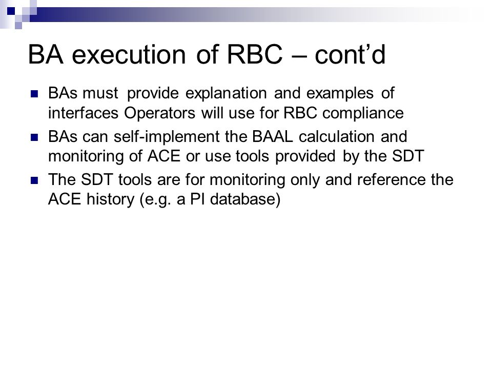 BA execution of RBC – cont'd