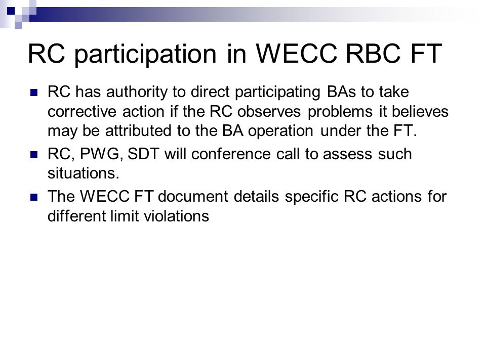RC participation in WECC RBC FT