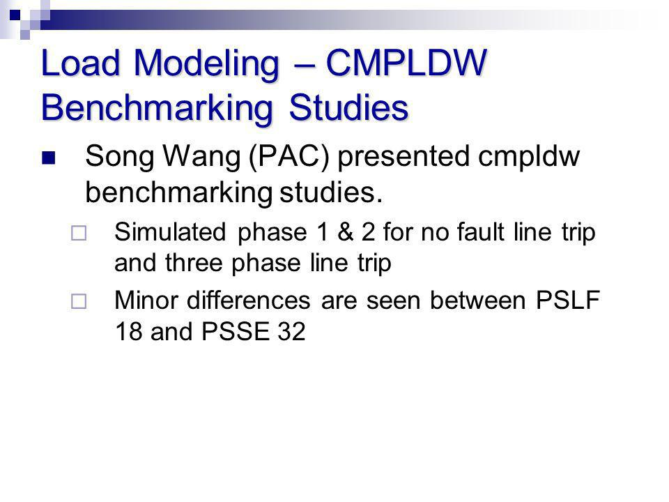Load Modeling – CMPLDW Benchmarking Studies