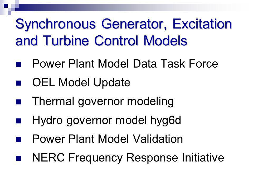 Synchronous Generator, Excitation and Turbine Control Models