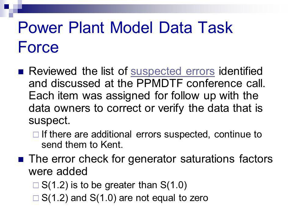 Power Plant Model Data Task Force