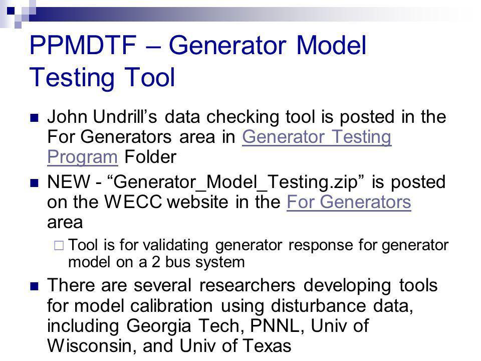 PPMDTF – Generator Model Testing Tool